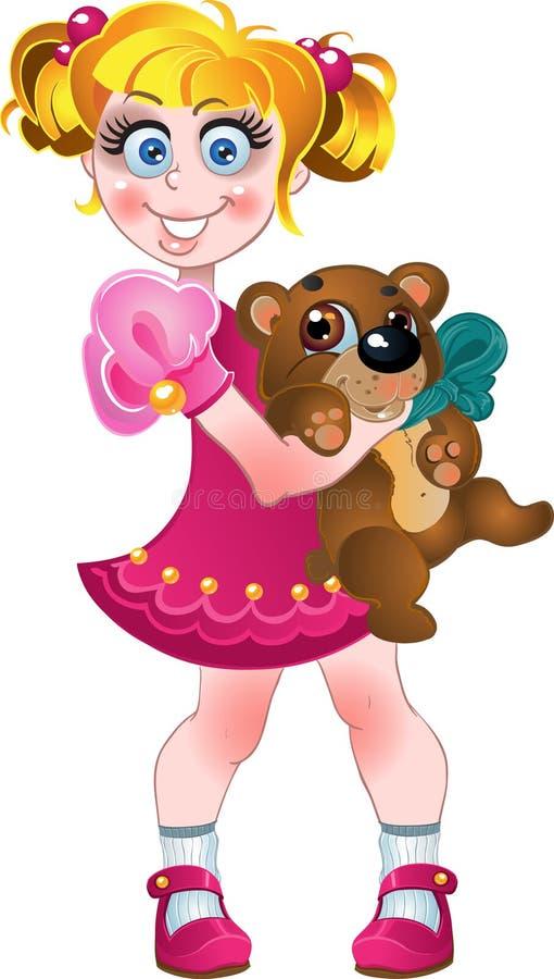 熊礼服女孩查出的桃红色女用连杉衬&# 库存例证