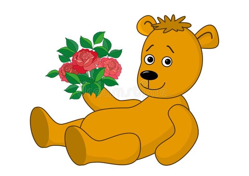 熊花束玫瑰 库存例证
