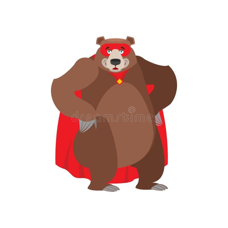 熊超级英雄 在面具和雨衣的超级北美灰熊 强的野兽 库存例证