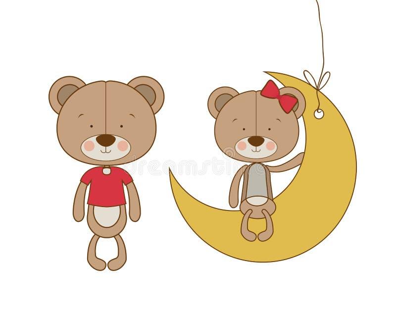 熊逗人喜爱的夫妇坐月亮 皇族释放例证