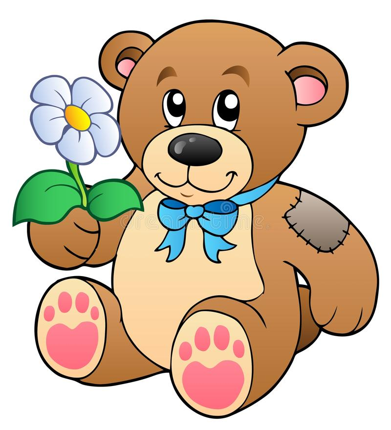 熊逗人喜爱的花女用连杉衬裤 库存例证