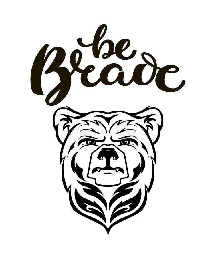 熊顶头吉祥人,传染媒介熊商标,手拉的毛利人纹身花刺样式,例证的,海报,象,标签,略写法,被隔绝, 向量例证