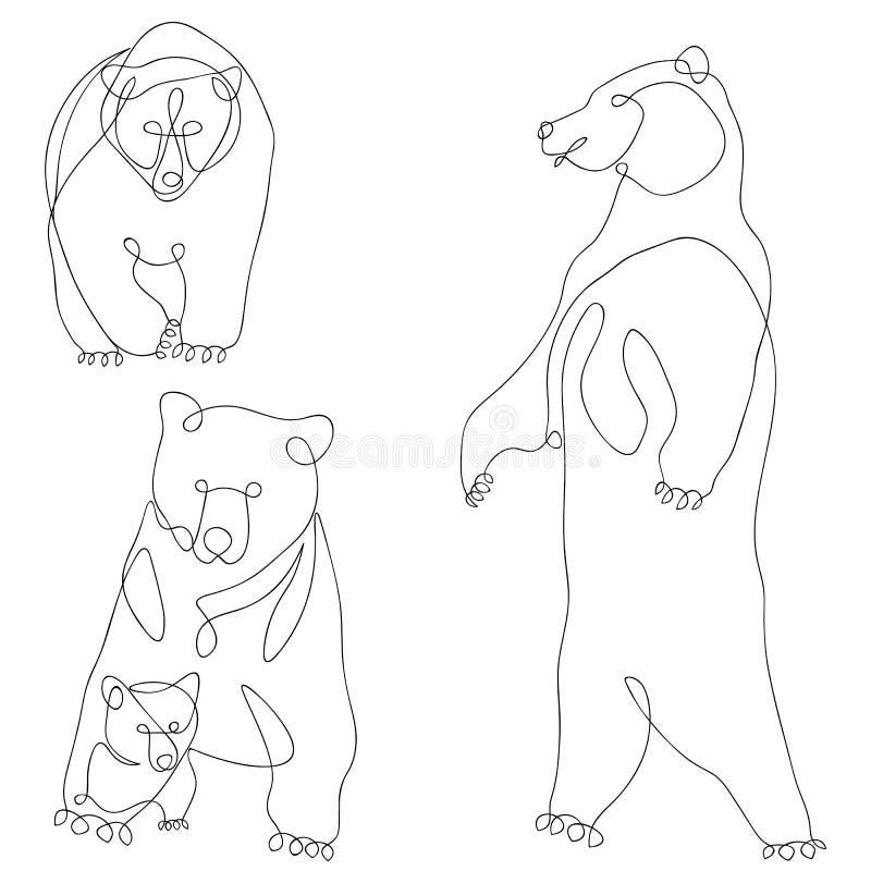 熊,小熊,集合传染媒介例证,乱画 实线 向量例证