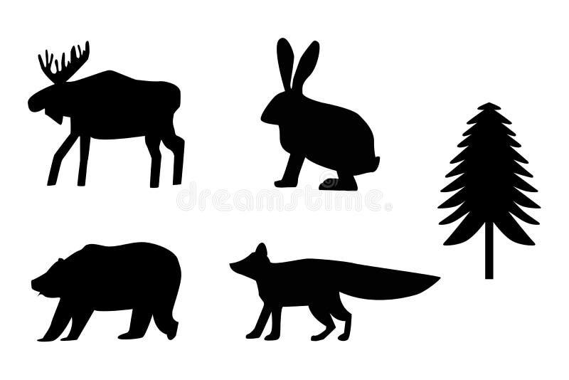 熊,麋,兔子,狐狸,冷杉剪影 向量例证