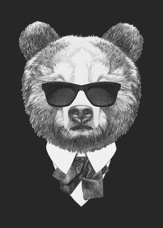 熊画象在衣服的 向量例证