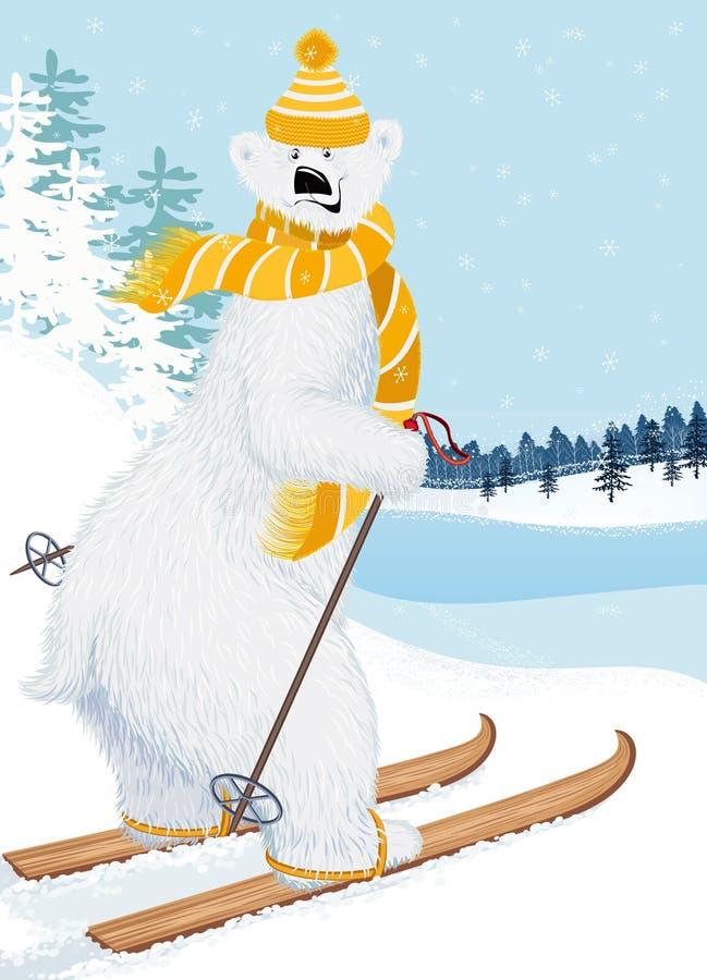 熊滑雪者 皇族释放例证