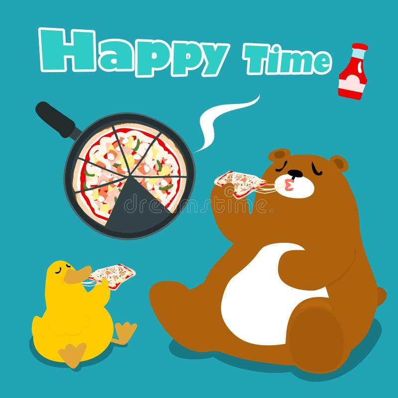 熊&鸭子吃薄饼动画片例证 皇族释放例证