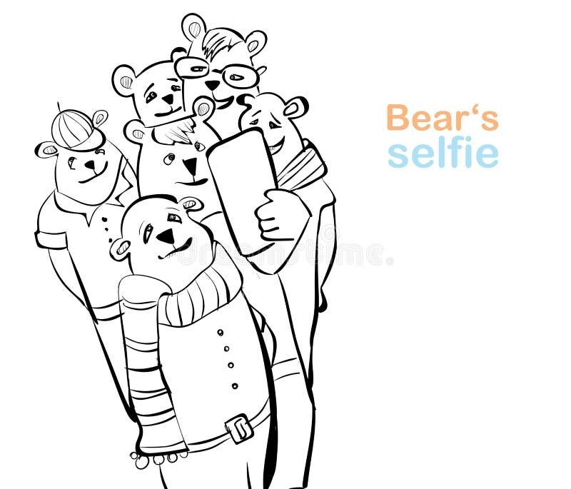 熊selfie 许多熊做自已照片 库存例证