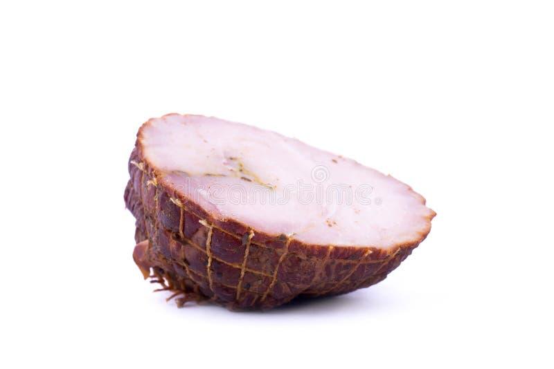 熏制的煮沸的猪肉孤立片断  库存照片