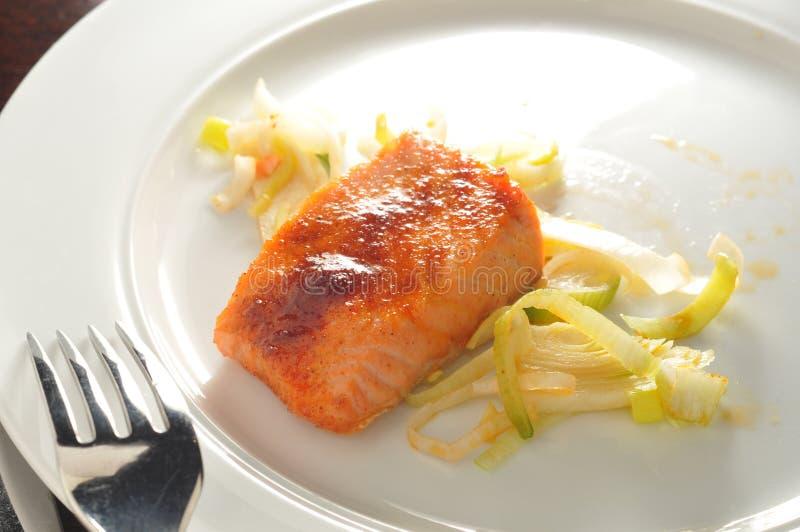 熏制的煮熟的三文鱼 免版税库存照片