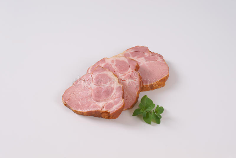 熏制的猪肉脖子 免版税库存图片