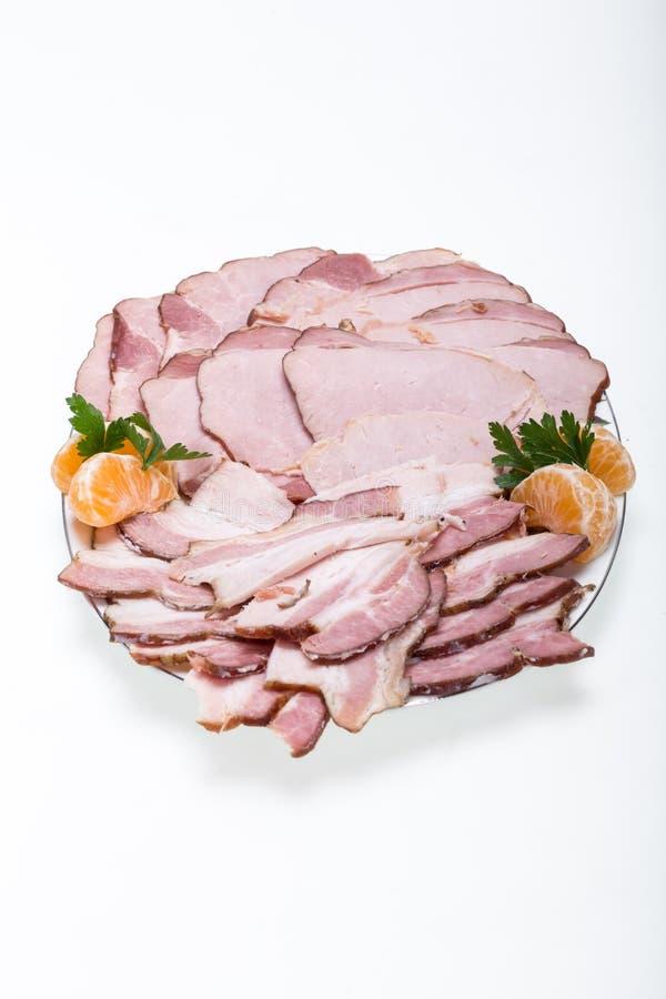 熏制的肉板材  免版税库存图片
