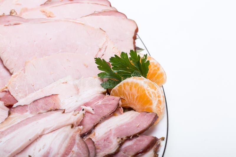 熏制的肉板材  免版税库存照片