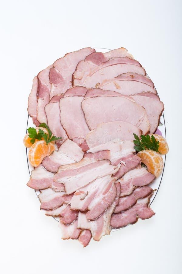 熏制的肉板材  免版税图库摄影