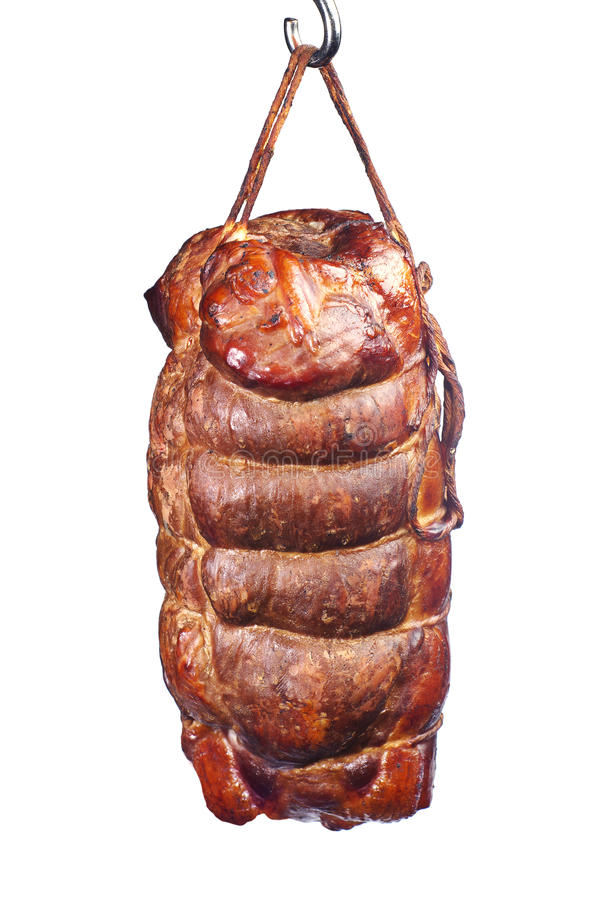 熏制的肉部分  免版税库存图片
