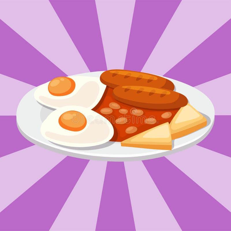 熏制香肠用番茄酱断送肉晚餐烹调可口午餐猪肉膳食烤肉传染媒介例证图片