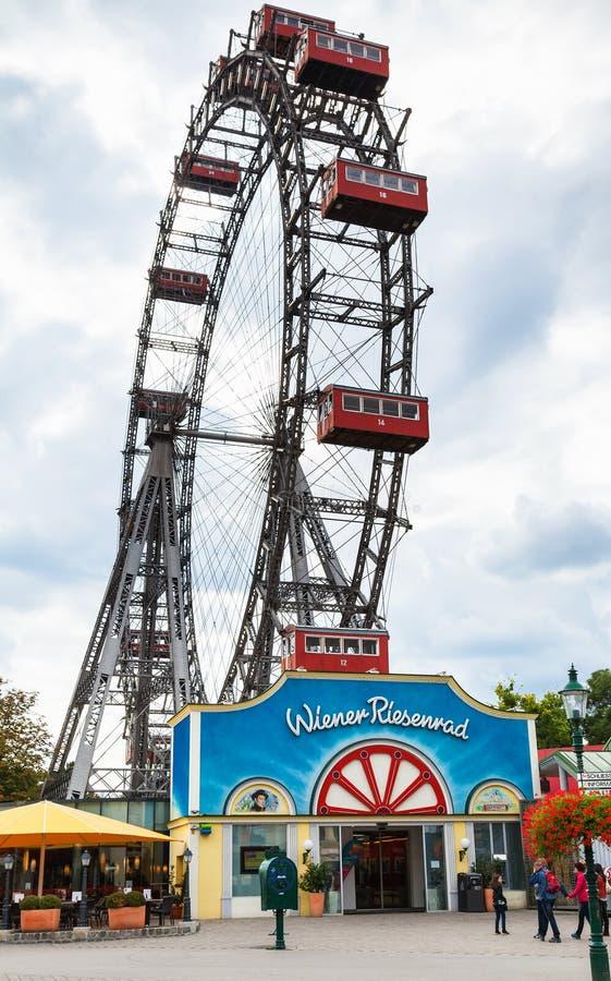 熏肉香肠Riesenrad (维也纳巨型轮子)在Prater 库存图片