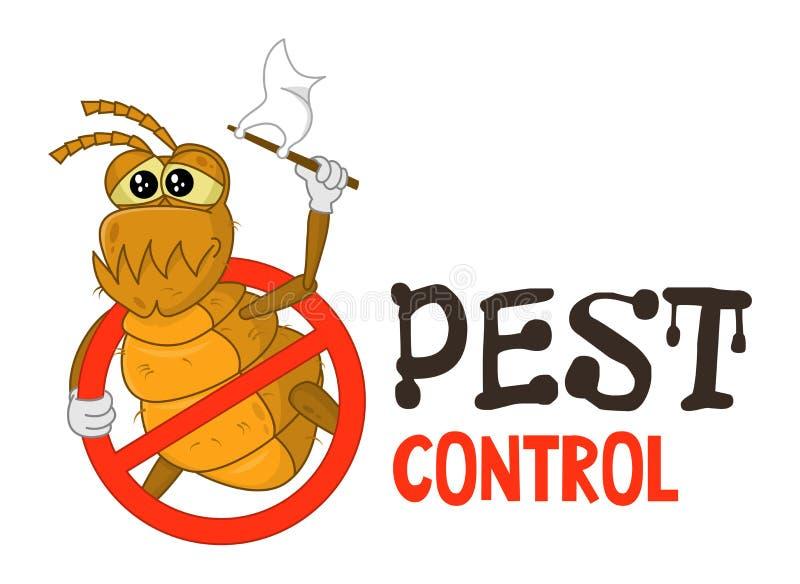 熏蒸事务的害虫控制商标的滑稽的传染媒介例证 可笑的锁着的蚤 o 库存例证
