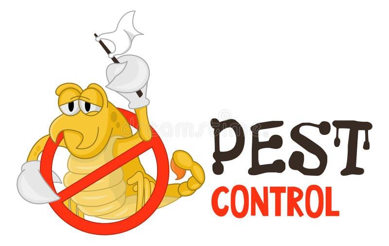 熏蒸事务的害虫控制商标的滑稽的传染媒介例证 可笑的锁着的蝎子 o 库存例证