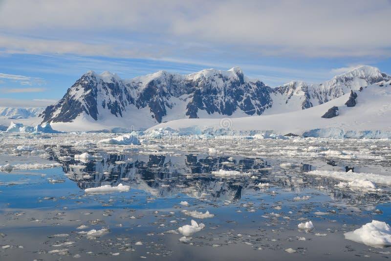 熔化在南极山的冰 图库摄影