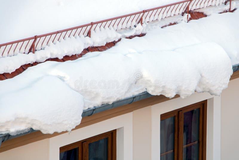 熔化在屋顶的雪 免版税库存图片