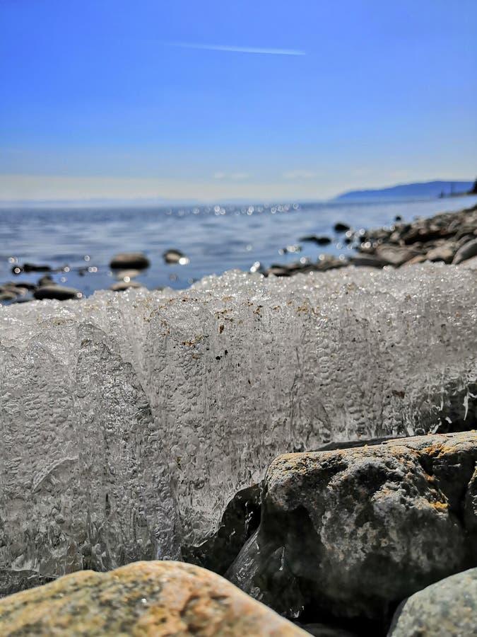 熔化在湖岸的冰 库存照片
