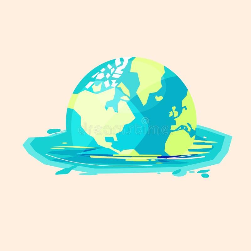 熔化对水的传染媒介例证的世界 被充斥的世界 向量例证