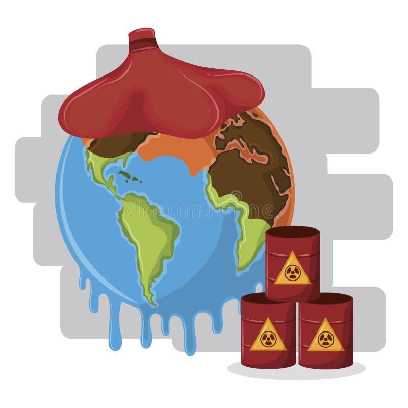 熔化有冰袋和有害废料的地球半沙漠 向量例证