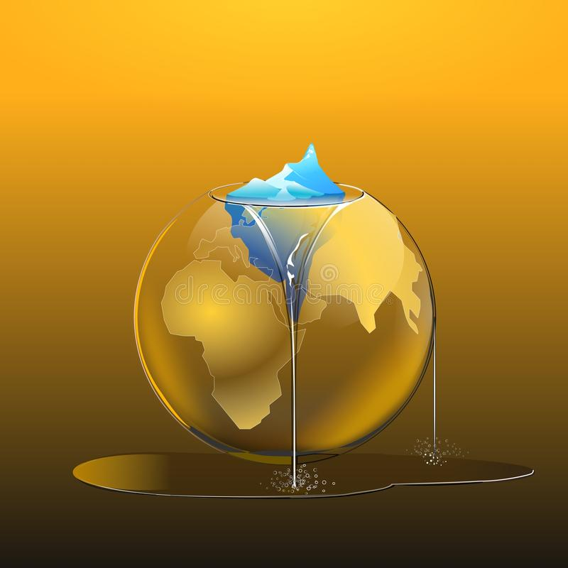 熔化极性温暖的全球冰 皇族释放例证