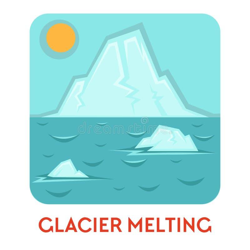 熔化的冰川和全球性变暖自然灾害生态问题 库存例证
