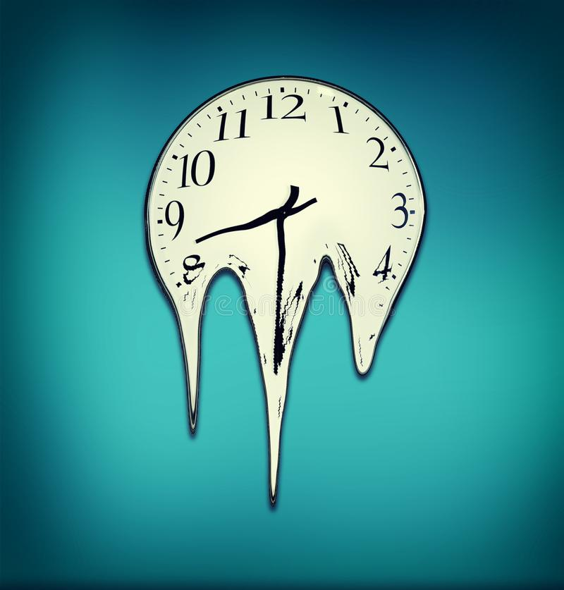 熔化的时钟 熔化在蓝色墙壁上的时钟 库存例证