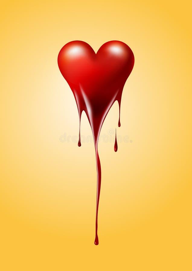 熔化的红色心脏隔绝了背景、情人节或者伤心概念,传染媒介例证 库存例证