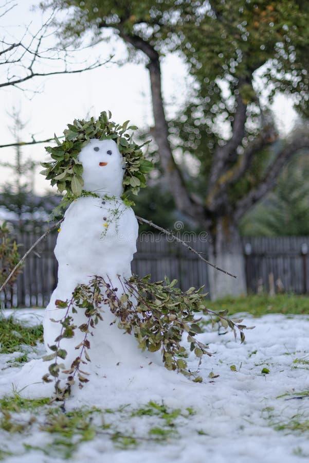 熔化的雪人在庭院里 免版税库存照片