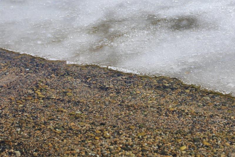 熔化的雪和冰在湖-封面为冰渔或冬天 库存照片