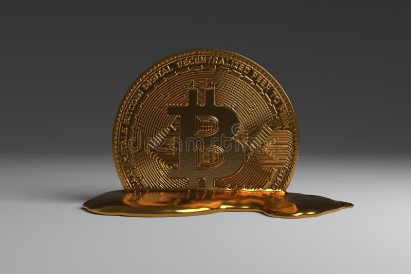 熔化的Bitcoin 皇族释放例证