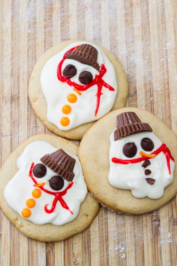 熔化雪人曲奇饼 库存图片