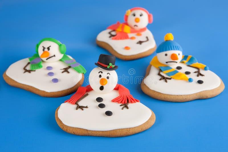 熔化雪人曲奇饼 库存照片