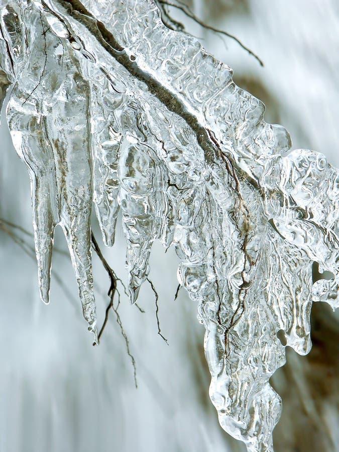 熔化雪冬天的冰柱 库存照片