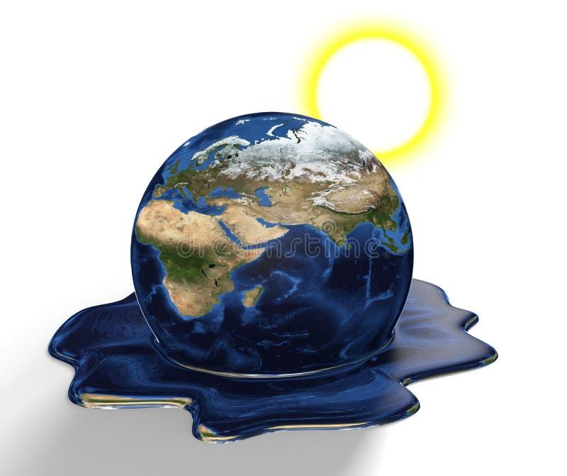 熔化从气候变化和全球性变暖,这个图象的部分的地球的保护概念装备由美国航空航天局 库存例证