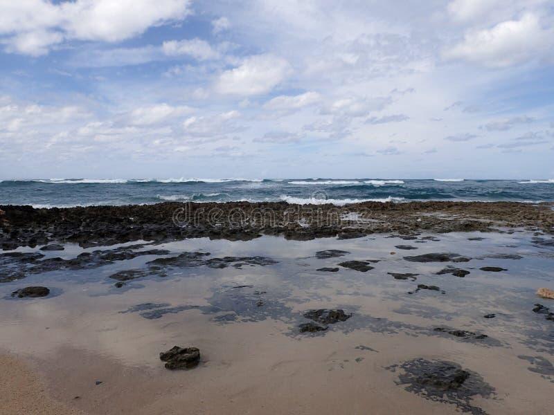 熔岩岩石和浪潮水池在海滩与波浪从海洋移动 免版税库存图片