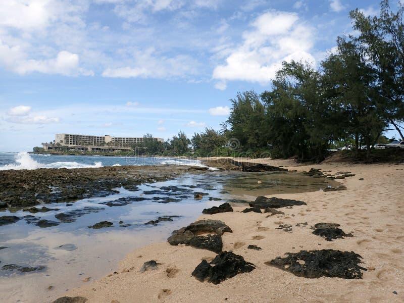 熔岩岩石和浪潮水池在海滩 库存图片