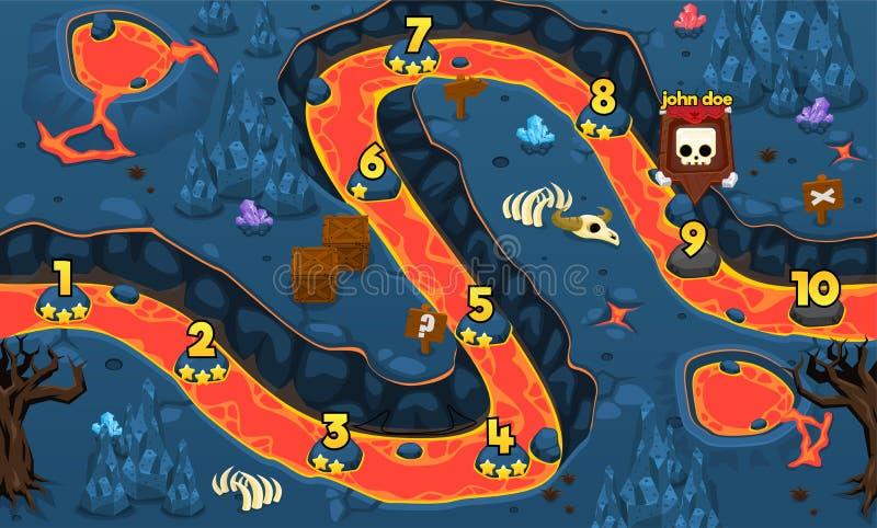 熔岩洞比赛水平图 皇族释放例证