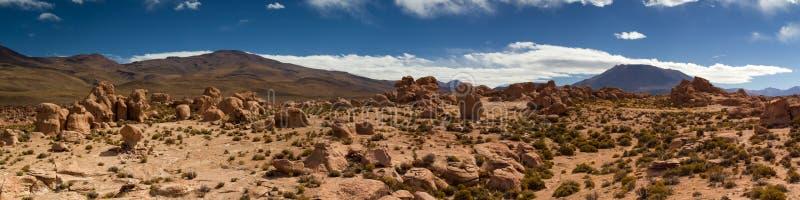 熔岩流全景在阿塔卡马沙漠 图库摄影