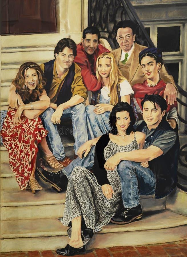 熔铸有芙烈达・卡萝的电视剧'朋友的 库存图片