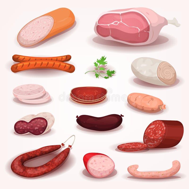 熟食和屠杀肉集合 库存例证
