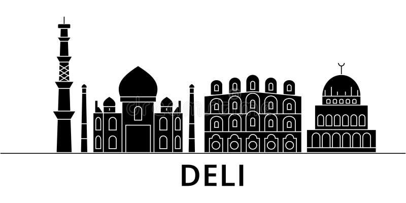 熟食店建筑学传染媒介城市地平线,与地标,大厦的旅行都市风景,隔绝了在背景的视域 皇族释放例证