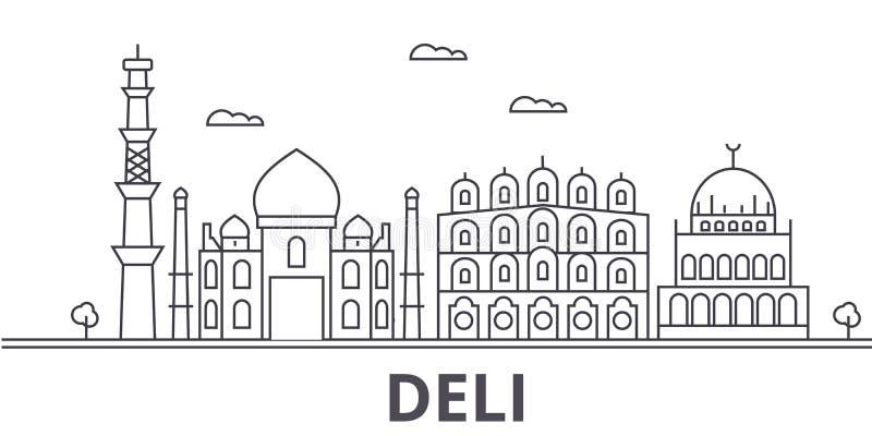 熟食店建筑学线地平线例证 与著名地标的线性传染媒介都市风景,城市视域,设计象 皇族释放例证