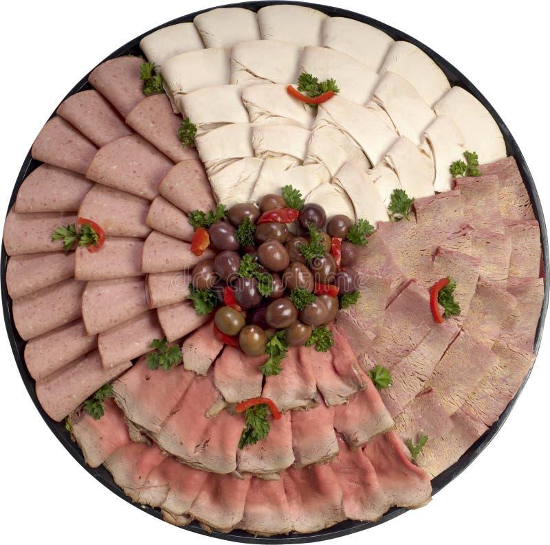 熟食店盛肉盘 免版税库存照片