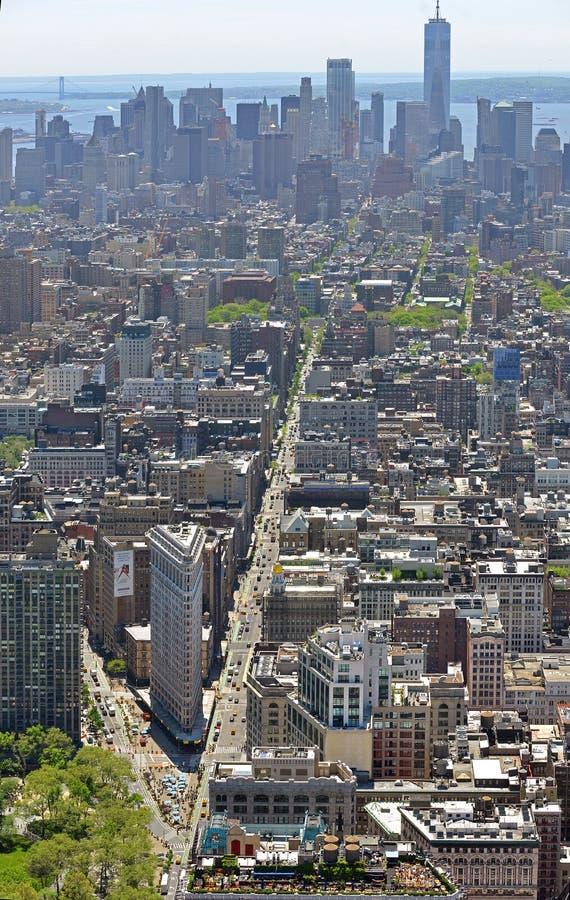 熨斗区,曼哈顿纽约自治市镇的邻里,命名以熨斗大厦在第23条街道,百老汇和 免版税库存图片