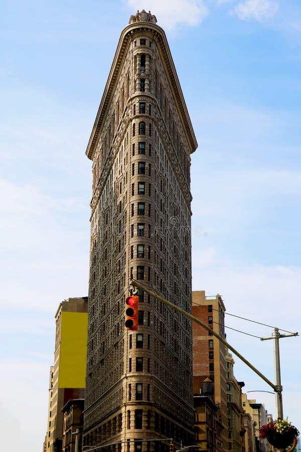 熨斗大厦视图2018年8月25日,纽约,美国 Flatiron大厦,设计由由丹尼尔伯纳姆的芝加哥,被聚焦了 免版税图库摄影